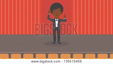 An african-american woman directing with her baton on the stage vector flat design illustration. Horizontal layout.