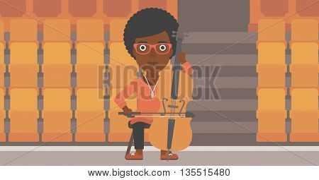 An african-american woman playing cello on the background of empty theater seats vector flat design illustration. Horizontal layout.