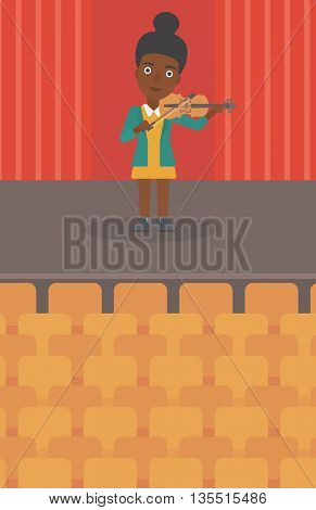 An african-american woman playing violin on the stage vector flat design illustration. Vertical layout.