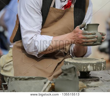 Potter Working With The Lathe During Manufacture Of A Clay Pot