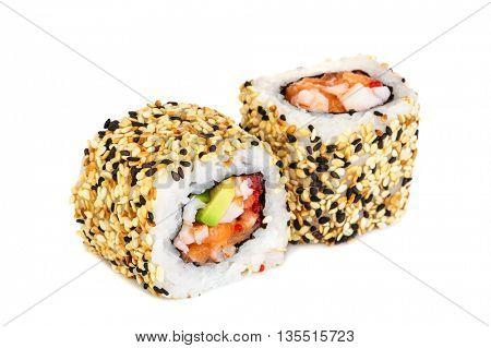 Uramaki maki sushi, two rolls isolated on white. Philadelphia cheese, crab meat, salmon, tobiko, avocado and sesame