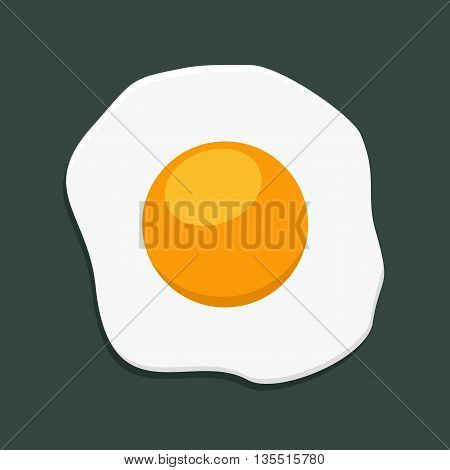 Fried egg isolated on dark background. Breakfast flat icon. Scrambled egg lunch plate appetizing morning cooked ingredient. Fresh scrambled egg and fried egg delicious cuisine dish