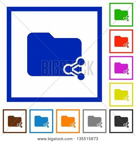 Set of color square framed Share folder flat icons