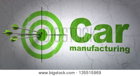 Success Industry concept: arrows hitting the center of target, Green Car Manufacturing on wall background, 3D rendering