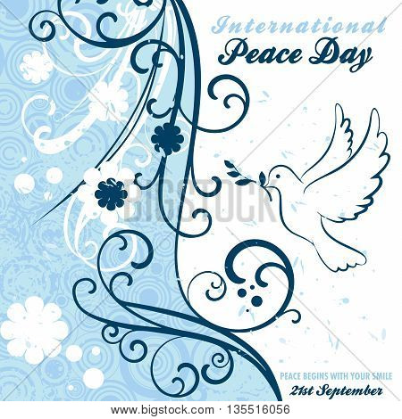 Single dove carrying an olive branch with scroll designs and floral grungy artwork for International Peace Day