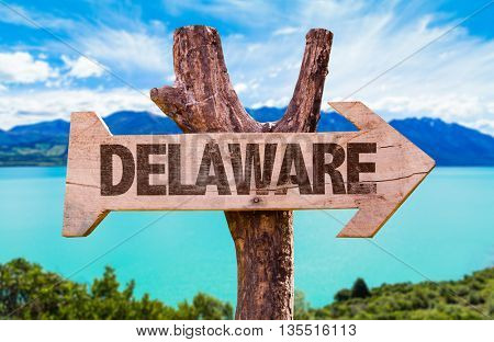 Delaware wooden sign with landscape background