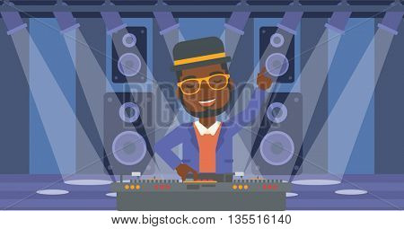 An african-american man in eadphones with hand up playing music on turntable on the background of night club vector flat design illustration. Horizontal layout.