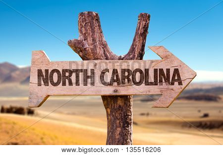 North Carolina wooden sign with desert background