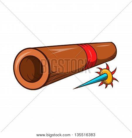 Ninja bamboo tube with a poisoned arrow icon in cartoon style isolated on white background