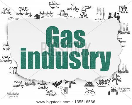 Industry concept: Painted green text Gas Industry on Torn Paper background with  Hand Drawn Industry Icons