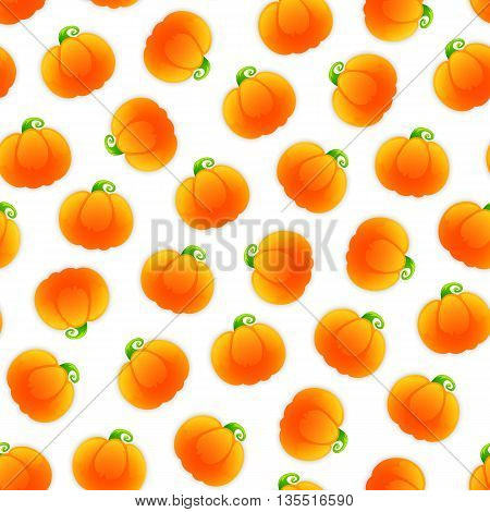 Seamless pattern with a lot of pumpkins. Isolated on white background. Clipping paths included.