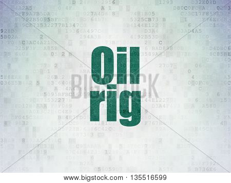 Manufacuring concept: Painted green word Oil Rig on Digital Data Paper background