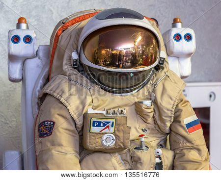 MOSCOW, RUSSIA - MAY 31, 2016: Russian astronaut spacesuit in space museum