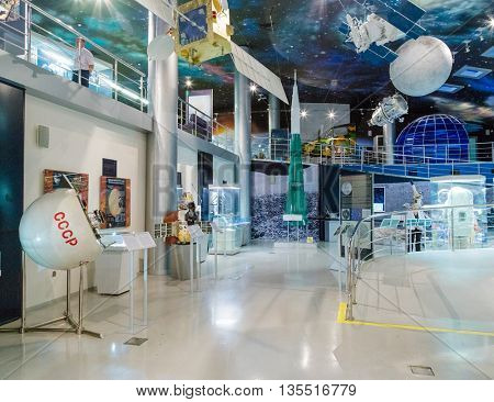 MOSCOW, RUSSIA - MAY 31, 2016: Space museum exposition