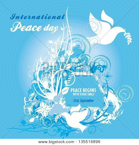Two doves carrying an olive branch with elaborate floral designs for International Peace Day