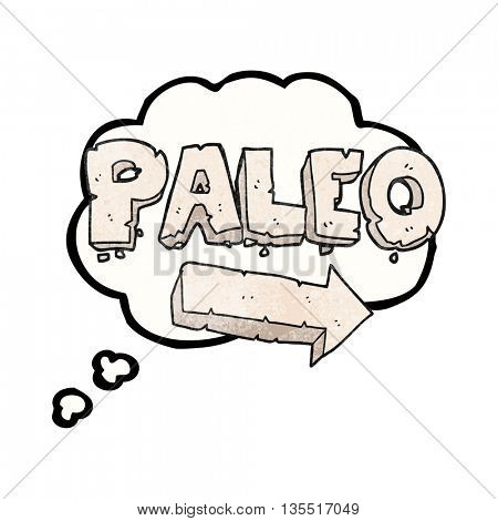 freehand drawn thought bubble textured cartoon paleo diet pointing arrow