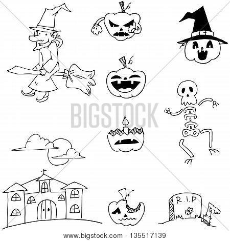 Halloween set pumpkins monster witch in doodle illustration
