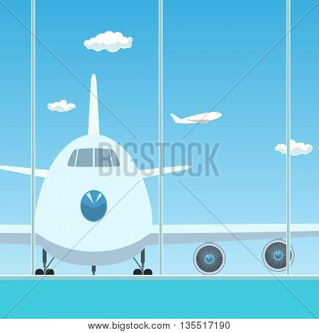 View on Airplane through the Window from a Waiting Room , Travel Concept,  Flat Design,  Vector Illustration