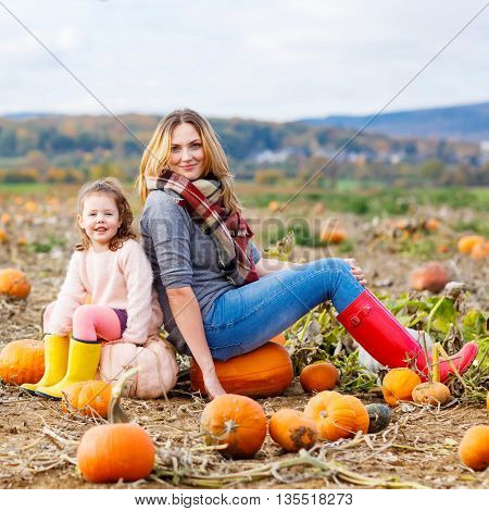 Little kid girl and young woman, mother having fun with farming on a pumpkin patch. Traditional family festival with children, thanksgiving and halloween concept. Cute farmers.