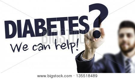 Business Man Pointing the Text: Diabetes? We Can Help!