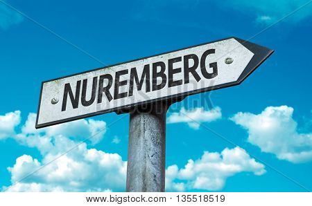 Nuremberg road sign in a concept image