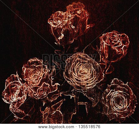 Floral background with stylized sketching bouquet of roses on grunge striped dark background