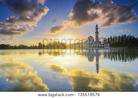 Majestic view of Terengganu Mosque during sunset.