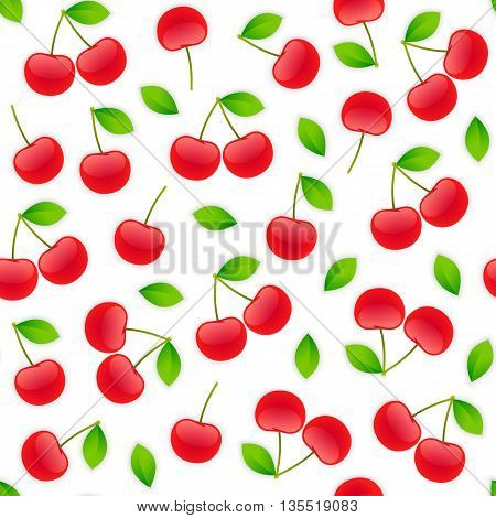Seamless pattern with cherry. Isolated on white background. Clipping paths included.