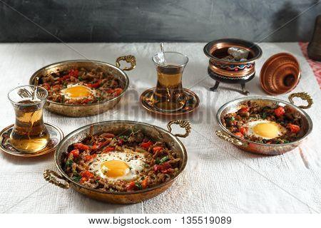 Minced meat onion and pepper with egg Turkish traditional breakfast food kiymali yumurta
