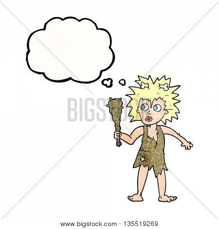 freehand drawn thought bubble textured cartoon cave woman