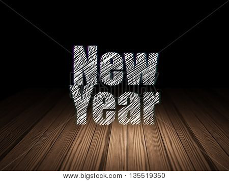 Entertainment, concept: Glowing text New Year in grunge dark room with Wooden Floor, black background