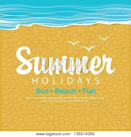 Travel banner with the sea beach sand and gravel and the word summer holidays