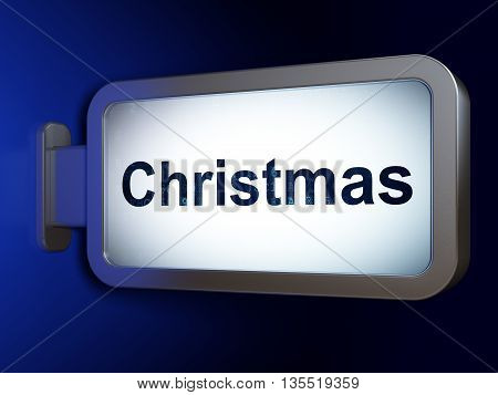 Entertainment, concept: Christmas on advertising billboard background, 3D rendering