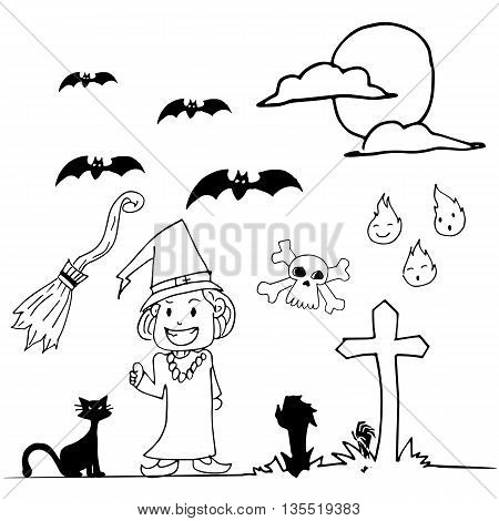 Halloween witch hand draw doodle on white backgrounds