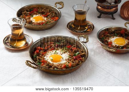 Minced meat onion and pepper with egg Turkish traditional breakfast food kiymali yumurta
