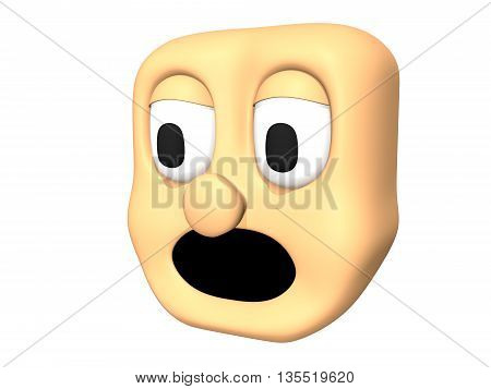 Funny 3D scared head icon of cartoon character.