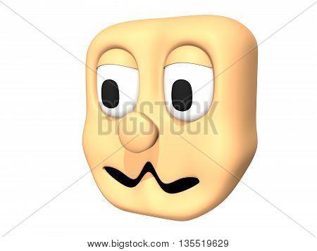 Funny 3D shy head icon of cartoon character.