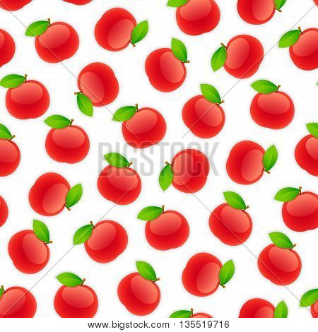 Seamless pattern with apples. Isolated on white background. Clipping paths included.