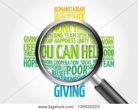 You Can Help Word Cloud With Magnifying Glass, Cross Concept 3D Illustration