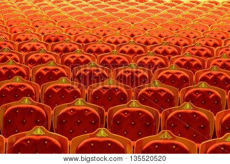 Abstract shot of seats inside a theatre