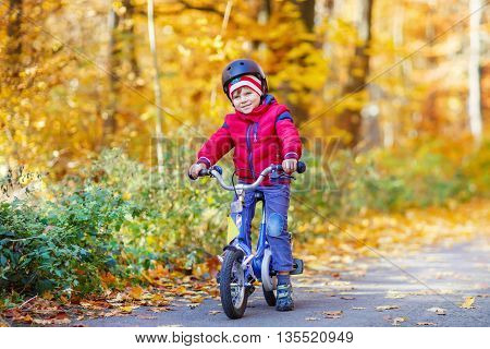 Happy kid boy of 3 years having fun in autumn forest with a bicycle on beautiful fall day. Active child wearing bike helmet. Safety, sports, leisure with kids concept.