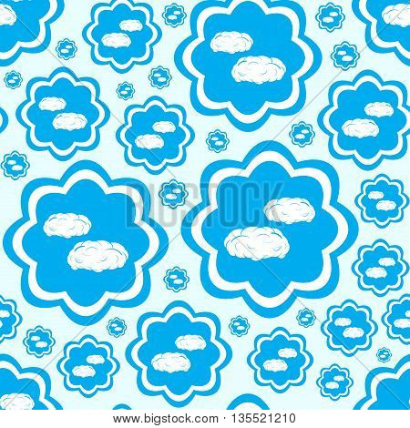 Seamless texture with clouds on a blue background
