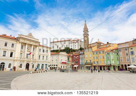Tartini square in picturesque old town Piran - beautiful Slovenian adriatic coast.