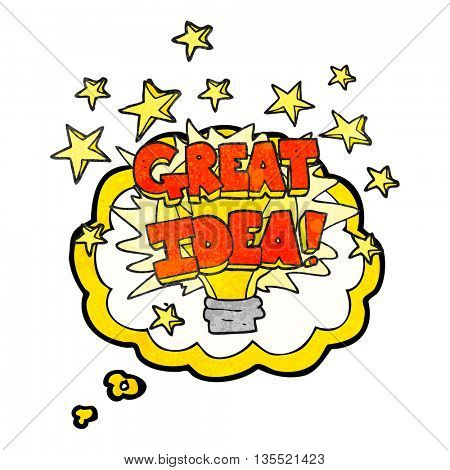 freehand drawn thought bubble textured cartoon great idea light bulb symbol