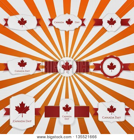 Canada Day national greeting Banners Set. Vector Illustration