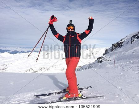 Europe Italy Alps. The mountain skier be in raptures at mountain top.
