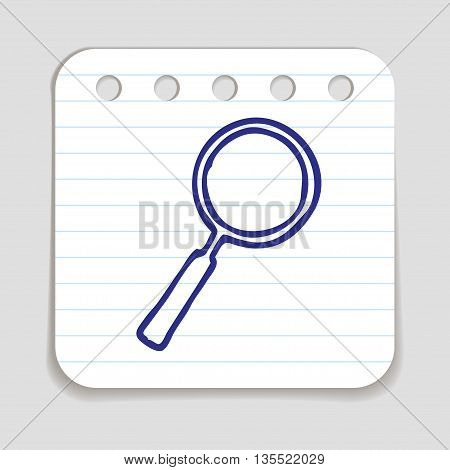 Doodle Magnifying Glass icon. Blue pen hand drawn infographic symbol on a notepaper piece. Line art style graphic design element. Web button with shadow. Search, looking up concept.