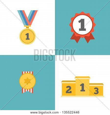 Award winner icons set, medal, podium, rosette, Flat design vector symbols isolated