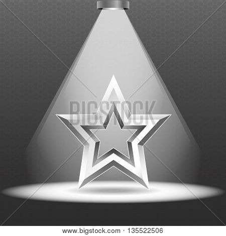 Scene with spotlights. One lamp illuminate the metal star on the podium. Metal star. Vector.
