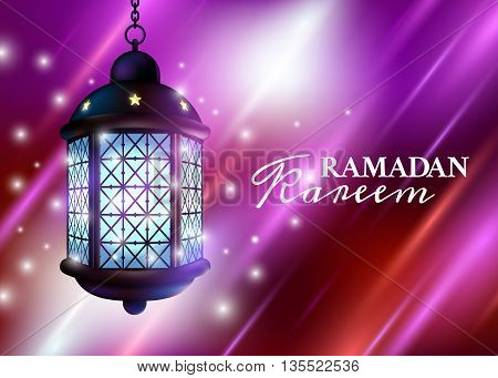 Ramadan Lantern Or Fanous With Lights And Ramadan Kareem Greetings In A Colorful Night Background. 3